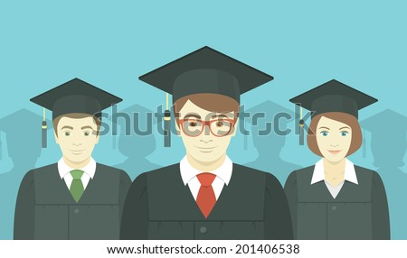 Flat vector horizontal illustration of the group of college, institute or university graduates in graduation gowns and mortarboards - stock vector