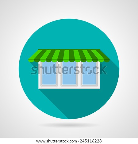 Flat vector icon for awning window. Single blue flat vector icon for green canopy plastic window with three department and white frame on gray background. Long shadow design. - stock vector
