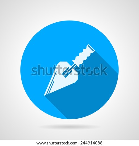 Flat vector icon for construction trowel. Single round blue flat icon with white silhouette trowel for construction or repair with long shadow on gray background. - stock vector