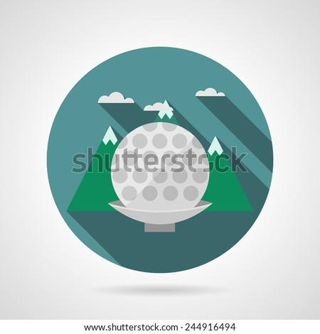 Flat vector icon for golf ball. Colored round vector icon with golf ball on tee on green mountain background. Flat design with shadow. - stock vector