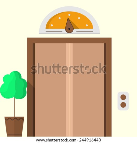 elevator doors clipart. closed elevator. flat colorful vector icon for hotel with elevator doors clipart