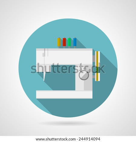 Flat vector icon for sewing machine. Flat blue round icon for modern gray sewing machine with colored spools of thread and with long shadow on gray background. - stock vector