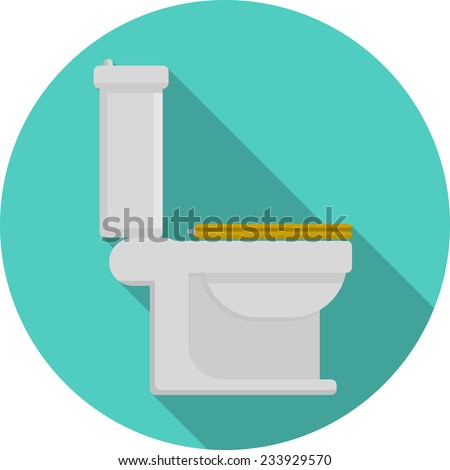 Flat vector icon for toilet. Gray toilet pan with yellow closed seat a side view. Flat blue circle vector icon with long shadow on white background. - stock vector