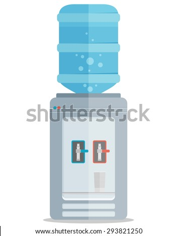 Flat vector icon for water cooler. Gray water cooler with blue full bottle and cup.  - stock vector