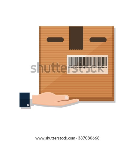 flat Vector icon - Hand carrying a cardboard box delivery - stock vector
