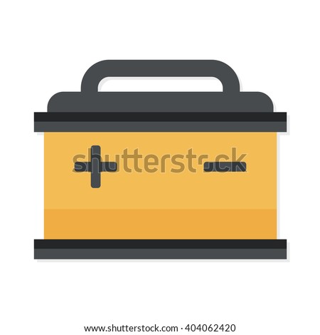 flat Vector icon - illustration of Car Battery icon isolated on white - stock vector