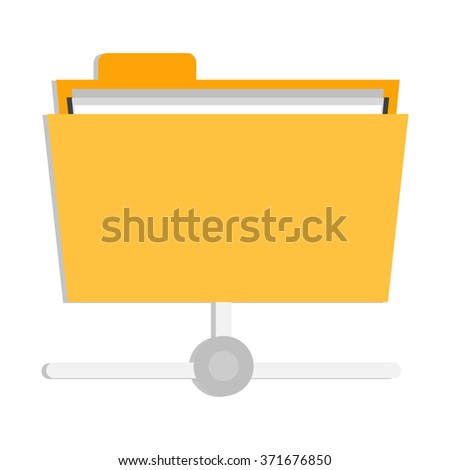 flat Vector icon - illustration of document folder connection icon isolated on white - stock vector