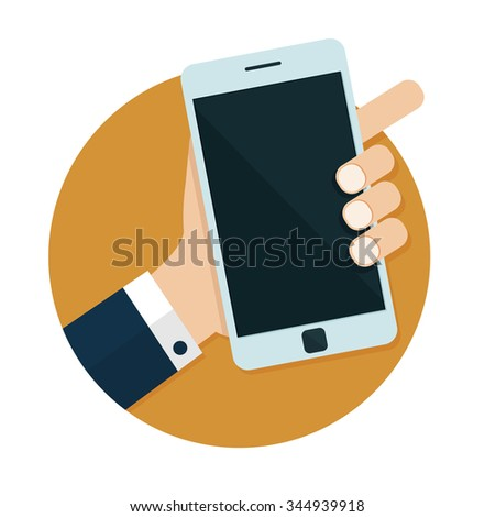 flat Vector icon - illustration of Hand holding mobile phone icon isolated on white - stock vector
