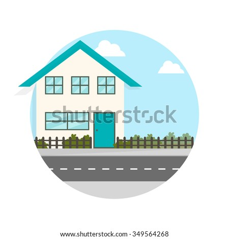 flat Vector icon - illustration of house along the road icon isolated on white - stock vector
