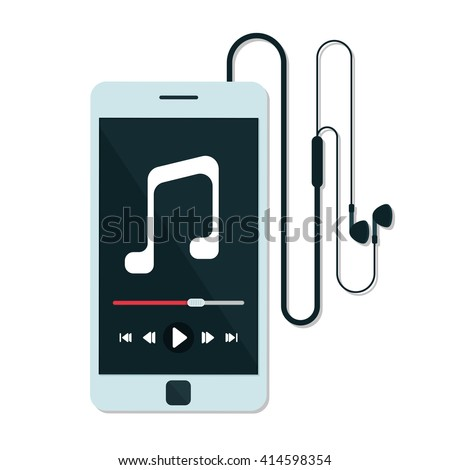flat Vector icon - illustration of music player icon isolated on white - stock vector