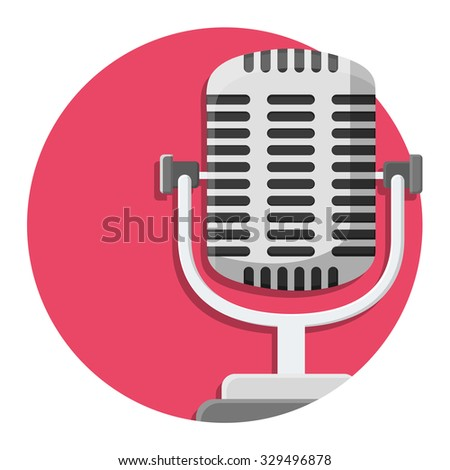 flat Vector icon - illustration of Old microphone icon isolated on white - stock vector