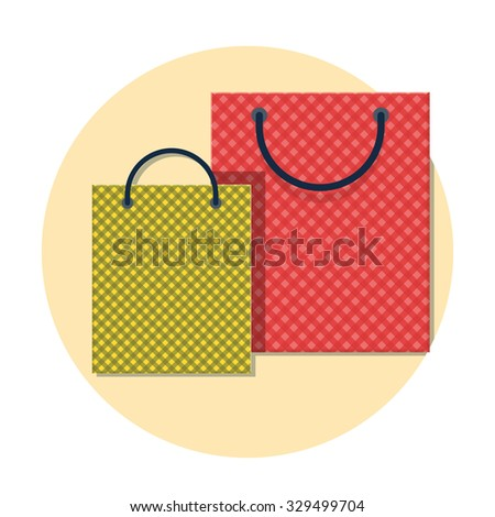 flat Vector icon - illustration of shopping bag icon isolated on white - stock vector