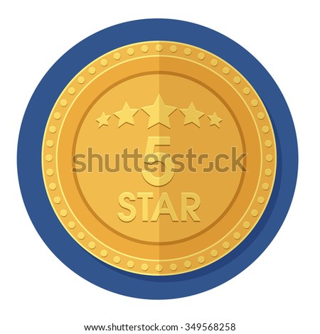 flat Vector icon - illustration of 5 Star Golden icon isolated on white - stock vector