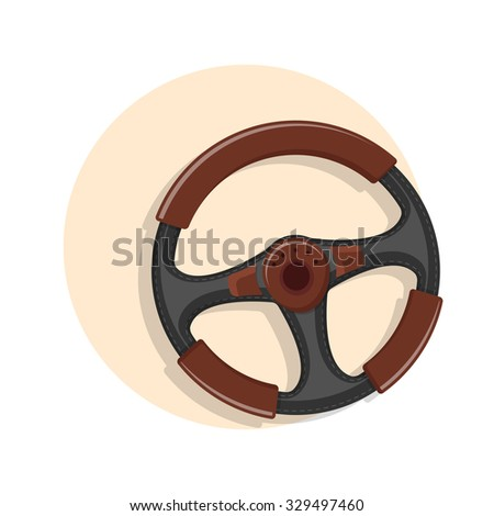 flat Vector icon - illustration of steering wheel icon isolated on white
