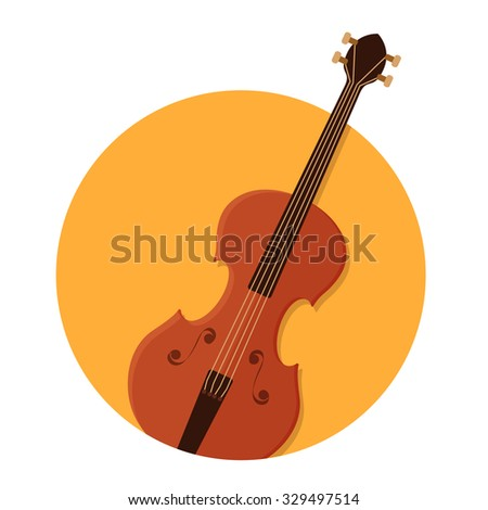 flat Vector icon - illustration of violin icon isolated on white - stock vector