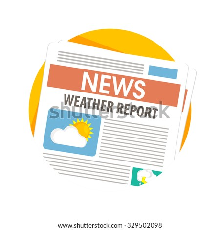 flat Vector icon - illustration of weather newspapers icon isolated on white - stock vector
