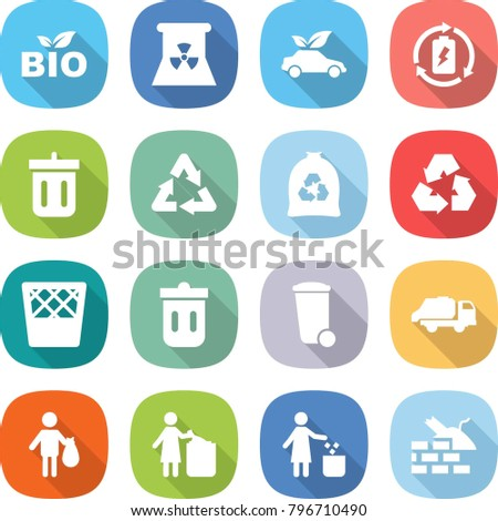 flat vector icon set - bio vector, nuclear power, eco car, battery charge, bin, recycle, garbage bag, recycling, trash, truck, construct