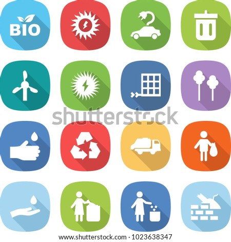 flat vector icon set - bio vector, sun power, electric car, bin, windmill, solar, panel, trees, hand drop, recycling, trash truck, and, garbage, construct
