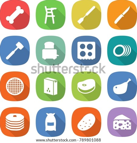 flat vector icon set - bone vector, Chair for babies, spatula, knife, meat hammer, toaster, hob, plates, sieve, cereals, steake, chicken leg, pancakes, flour, potato, cheese