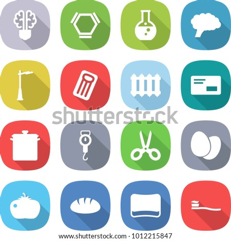 flat vector icon set - bulb brain vector, hex molecule, round flask, outdoor light, inflatable mattress, radiator, envelope, pan, handle scales, scissors, eggs, tomato, bread, sponge, tooth brush