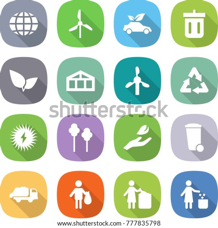 flat vector icon set - globe vector, windmill, eco car, bin, leafs, greenhouse, recycle, solar power, trees, hand leaf, trash, truck, garbage