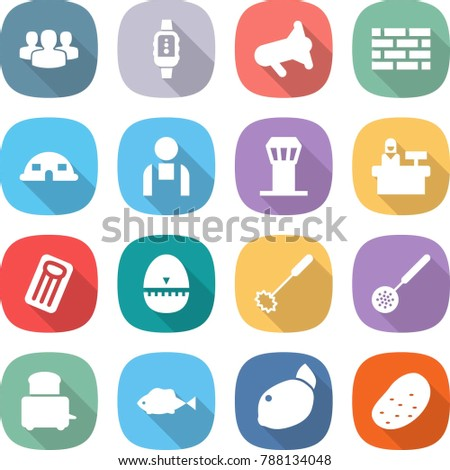 flat vector icon set - group vector, smart watch, megafon, brick wall, dome house, workman, airport tower, reception, inflatable mattress, egg timer, whisk, skimmer, toaster, fish, lemon, potato