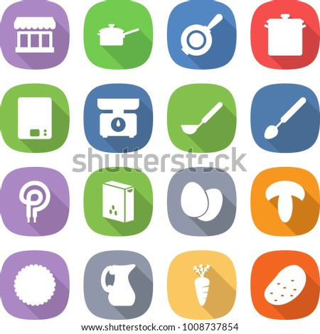 flat vector icon set - market vector, saute pan, kitchen scales, ladle, big spoon, elecric oven, cereals, eggs, mushroom, cookies, jug, carrot, potato