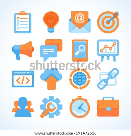 Flat vector icon set of SEO symbols, internet marketing design elements and online business signs - stock vector