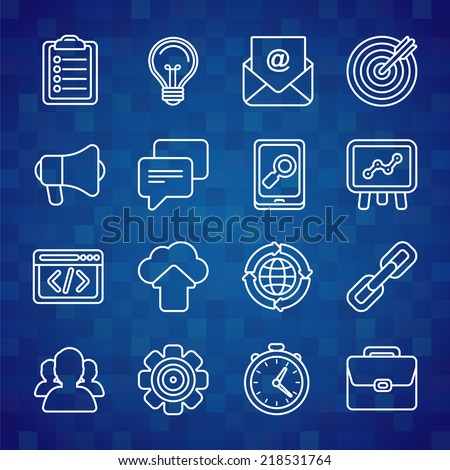 Flat vector icon set of SEO symbols, internet marketing design elements and online business signs in outline style - stock vector