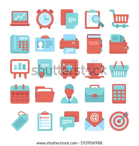 Flat vector icon set - office and business symbols, finance and business design elements  - stock vector