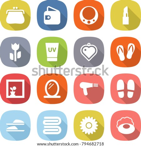 flat vector icon set - purse vector, wallet, necklace, lipstick, perishable, uv cream, heart pendant, flip flops, flower in window, mirror, hair dryer, slippers, towel, soap