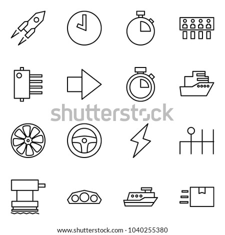 Flat vector icon set - rocket vector, clock, stopwatch, hub, forward, cruiser, wheel disk, steering, lightning, gearbox, grinder, dashboard, fast deliver