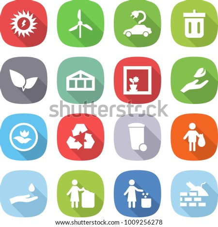 flat vector icon set - sun power vector, windmill, electric car, bin, leafs, greenhouse, flower in window, hand leaf, ecology, recycling, trash, and drop, garbage, construct