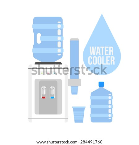 Flat vector icon  water cooler. Water cooler with blue full bottle and cup. Flat vector icon on white background. - stock vector
