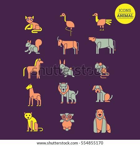Circus Elements Like Elephants Horse Lion Stock Vector
