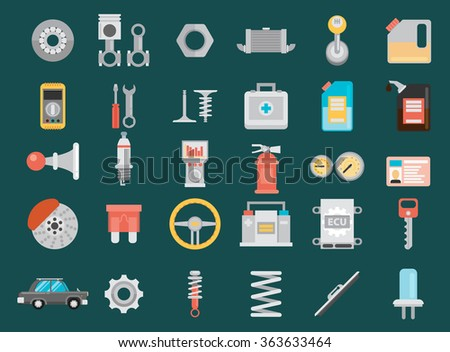 Flat vector icons and illustrations repair of machines and equipment.  - stock vector