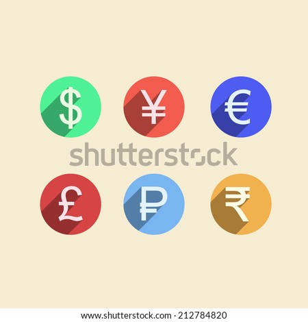 Flat vector icons for moneymaker. Set of colored circle vector icons with currency signs for moneymaker on white background. - stock vector