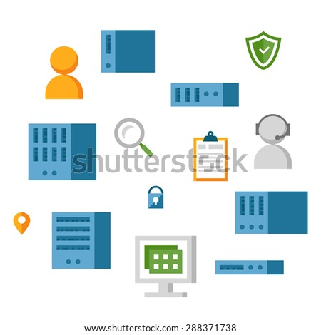 Flat vector icons for server computing concept - stock vector