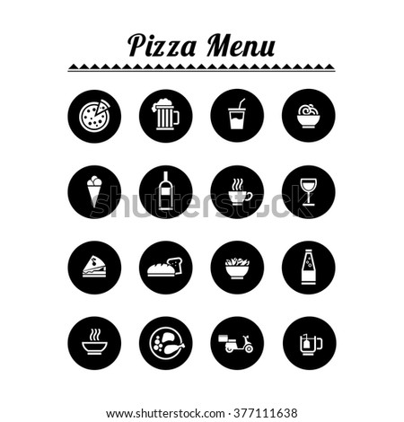 Flat vector icons for your restaurant - pizza menu - stock vector
