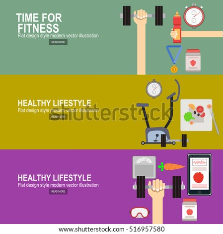 flat vector icons of healthy lifestyle, fitness and physical activity.Fitness concept flat Isolated vector illustration and modern design element