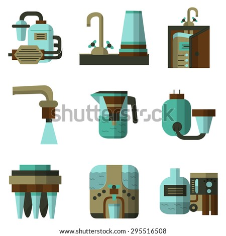 Flat vector icons of water filters. Filters for water factories, water filters at home, pitchers with filters and other components for business and logos - stock vector