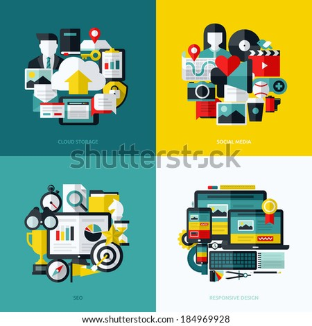 Flat vector icons set of cloud storage, social media, SEO and responsive web design - stock vector