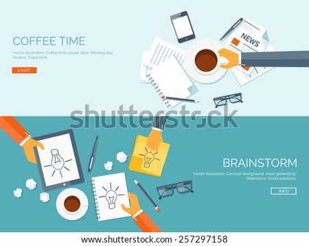 Flat vector illustration backgrounds set. Creativity and generating ideas. Brainstorm and coffee pause. Working. Everyday routine. - stock vector