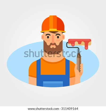 Flat Vector Illustration: Bearded Builder with Paint Roller
