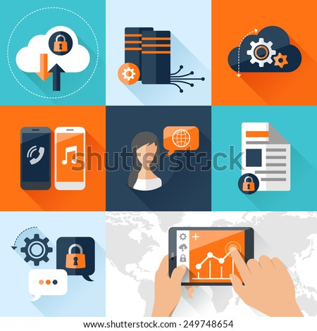 Flat vector illustration concept mobile devices connected onto a cloud data storage. Elements for mobile and web applications - stock vector