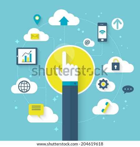 Flat vector illustration for cloud computing