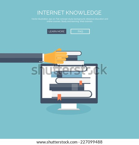 Flat vector illustration.Hand and books. Study and learning concept background. Distance education, brainstorm and knowledge growth,school and university subjects.Success and smart ideas, skills up.  - stock vector
