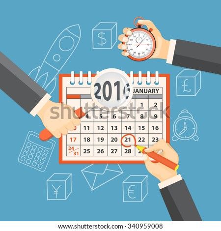 Flat  vector illustration. Hands with  stopwatch, magnifier, pencil  and calendar january 2016 on the background with hand drawn business symbols. EPS 10. - stock vector
