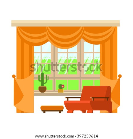Flat vector illustration interior element window.Interior design window living room and  furniture white background. High quality detailed interior design. - stock vector