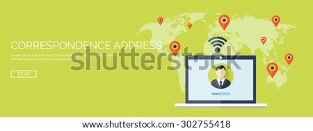 Flat vector illustration. Laptop with world map. Social network. Global communication. Chatting and emailing. - stock vector